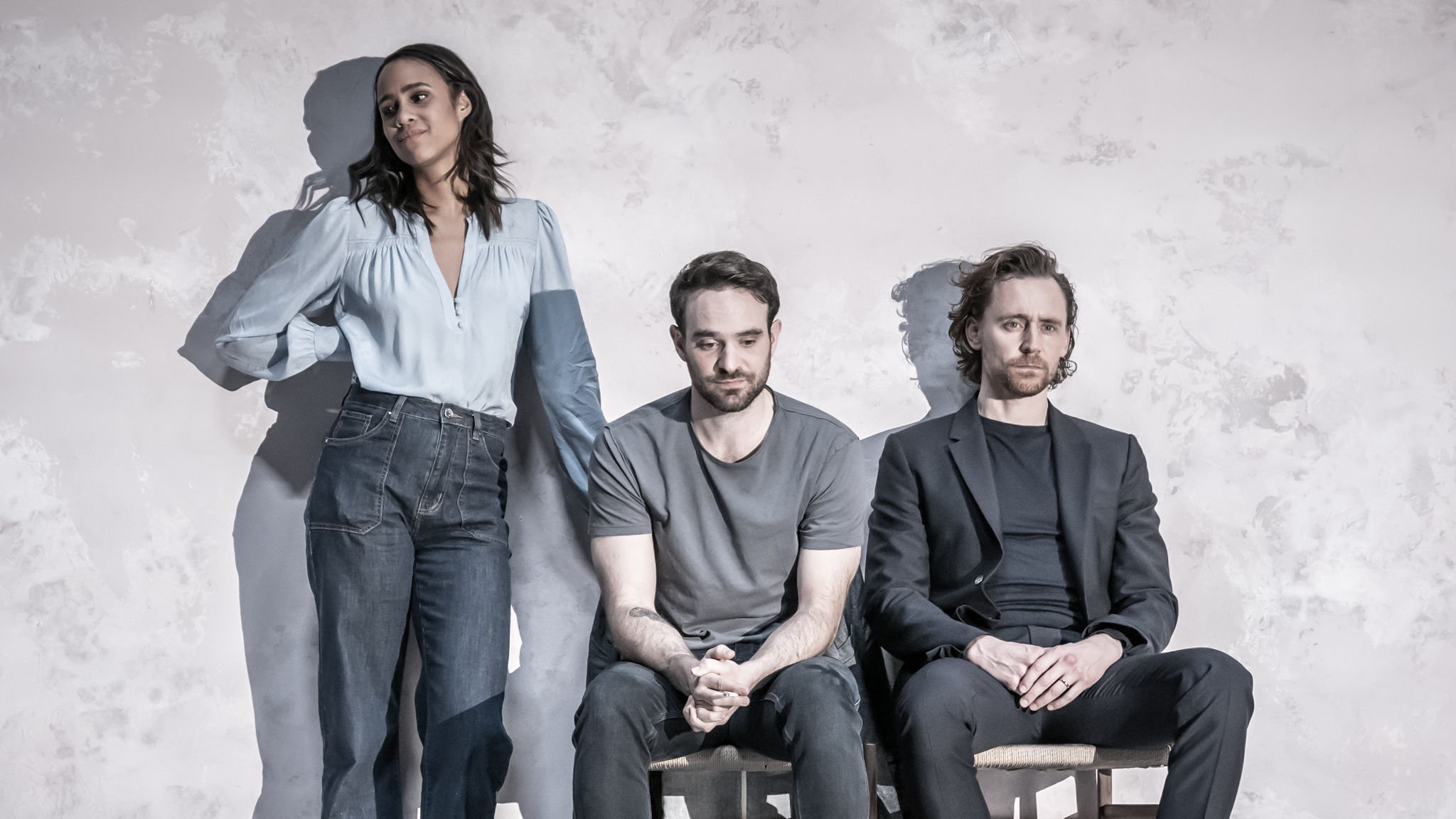 Zawe Ashton (Emma), Charlie Cox (Jerry) and Tom Hiddleston (Robert) in 'Betrayal' directed by Jamie Lloyd.  Photo credit Marc Brenner